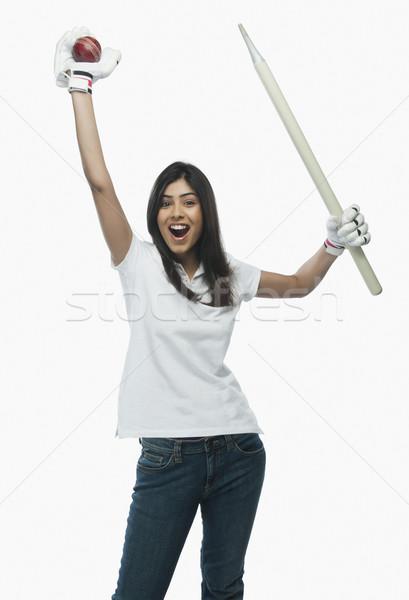 Stok fotoğraf: Portre · kadın · kriket · fan · kadın