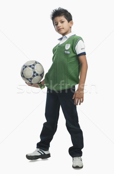 портрет мальчика футбольным мячом спорт ребенка Сток-фото © imagedb