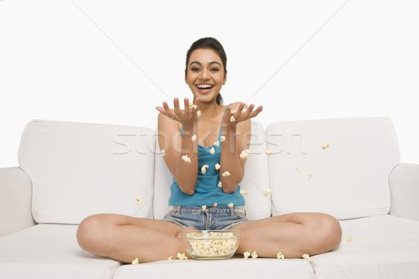 肖像 女性 座って ソファ 小さな 自由 ストックフォト © imagedb