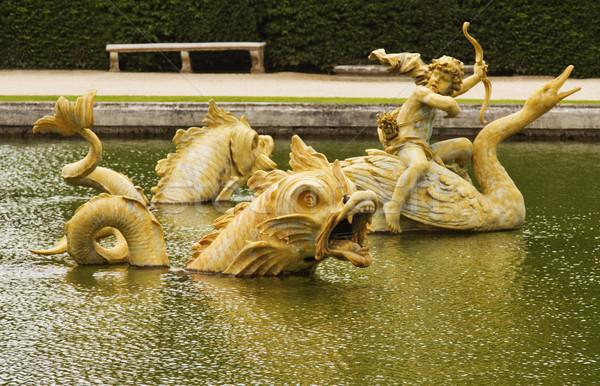 Medence Versailles Párizs Franciaország angyal szobor Stock fotó © imagedb