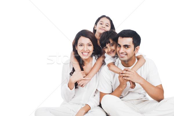 肖像 幸せな家族 笑みを浮かべて 家族 楽しい 父 ストックフォト © imagedb