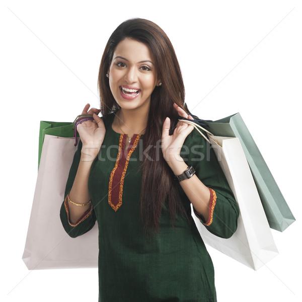 портрет счастливым женщину торговых Сток-фото © imagedb