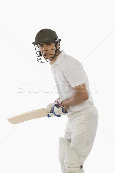 Cricket hoog Maakt een reservekopie lift man sport Stockfoto © imagedb