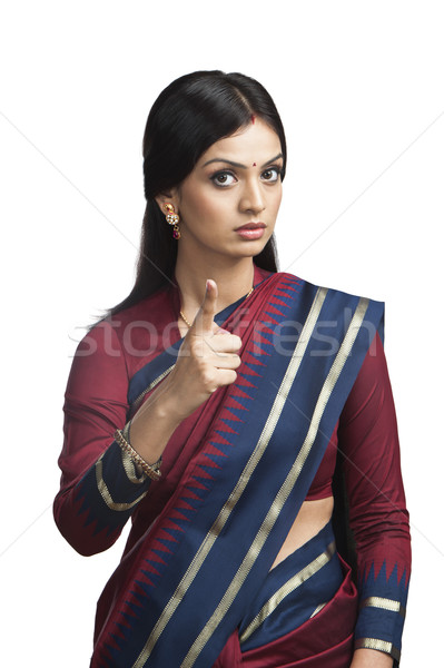 Hagyományosan indiai nő mutat düh fotózás Stock fotó © imagedb