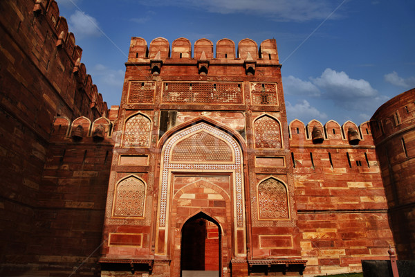 Entree poort fort Indië hemel groep Stockfoto © imagedb