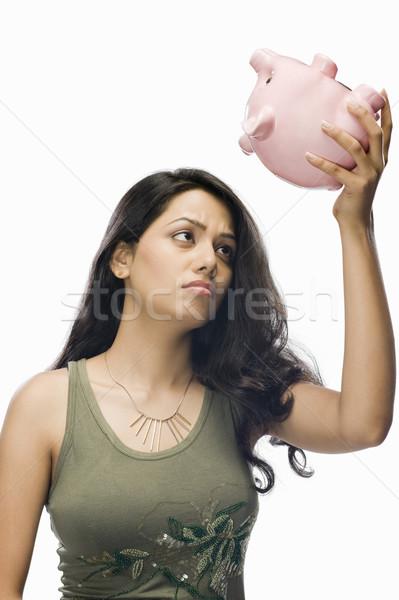 Genç kadın endişeli kumbara kadın güzellik finanse Stok fotoğraf © imagedb