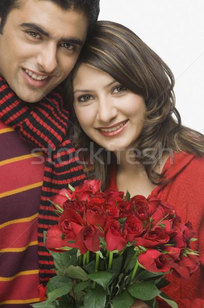 Stockfoto: Paar · vrouw · bloem · liefde · man