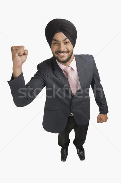 Empresario sonriendo mano negocios hombre Foto stock © imagedb