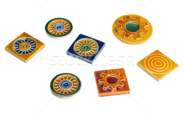 Közelkép dekoratív csempék terv művészet csoport Stock fotó © imagedb