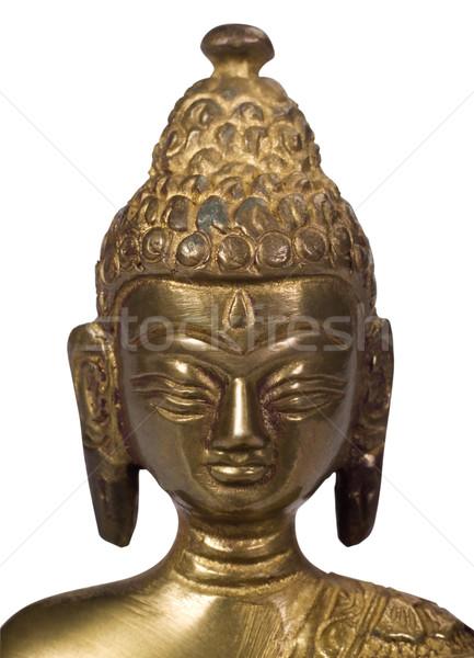 Közelkép szobrocska Buddha fém fehér minta Stock fotó © imagedb