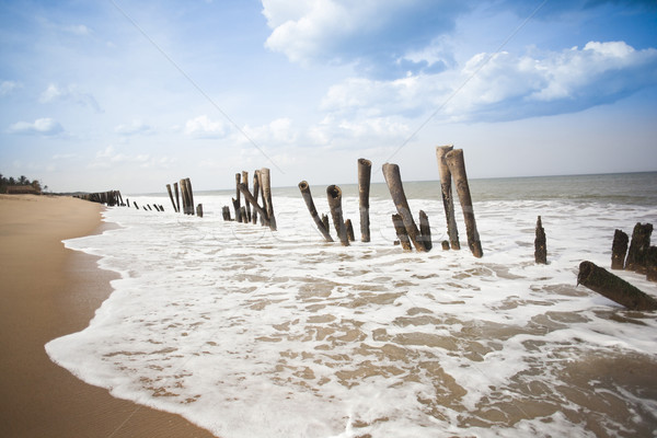 Ahşap plaj Hindistan gökyüzü su deniz Stok fotoğraf © imagedb