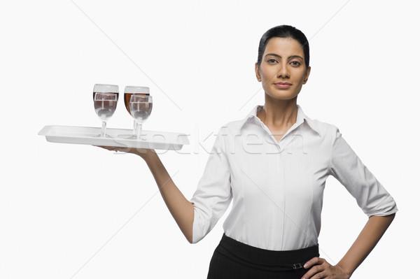 Hava hostes tepsi şarap bardakları şarap Stok fotoğraf © imagedb