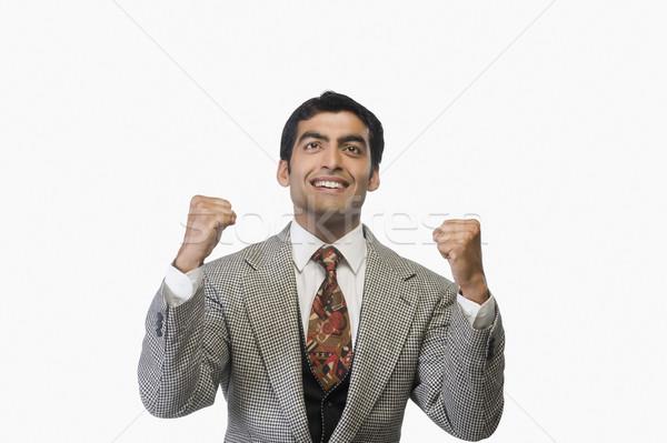 бизнесмен успех фотографии белом фоне Сток-фото © imagedb