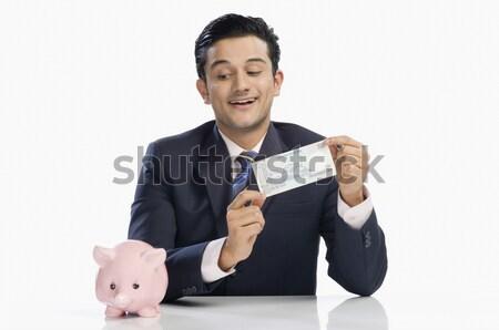 портрет человека деньги сумку Финансы Сток-фото © imagedb