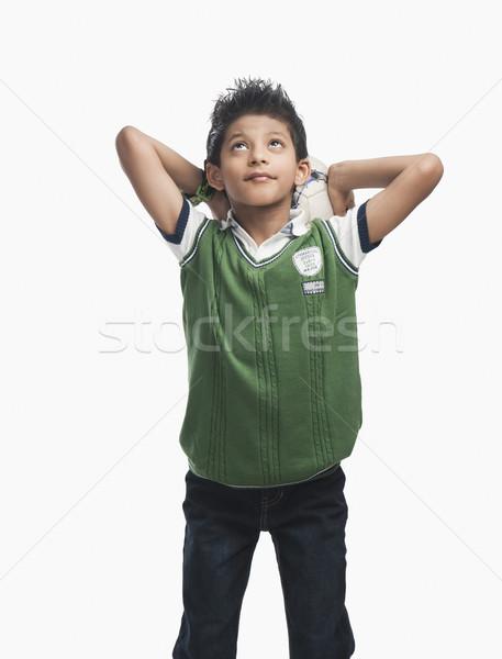 Erkek futbol topu düşünme spor çocuk Stok fotoğraf © imagedb