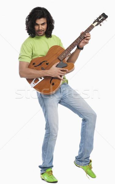 Portré férfi játszik gitár zene divat Stock fotó © imagedb