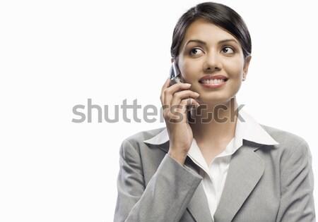 Femme d'affaires parler téléphone portable blanche femme technologie Photo stock © imagedb