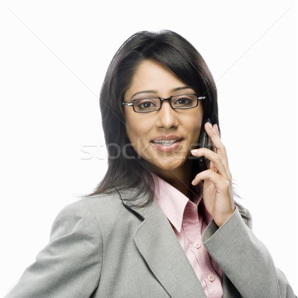 Retrato mujer de negocios hablar teléfono móvil mujer tecnología Foto stock © imagedb