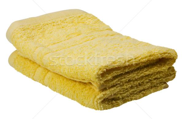 Közelkép kettő törölközők citromsárga textil fotózás Stock fotó © imagedb
