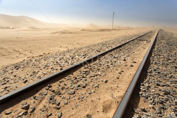 пустыне железная дорога Намибия трек ведущий Африка Сток-фото © imagex