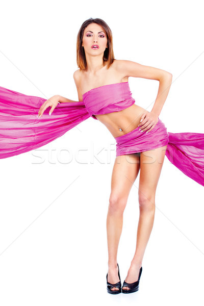 woman in pink material Stock photo © imarin