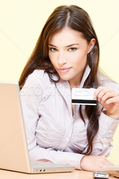 She can on line shopping Stock photo © imarin