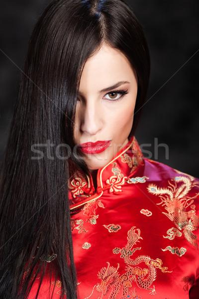 woman in red Cheongsam Stock photo © imarin
