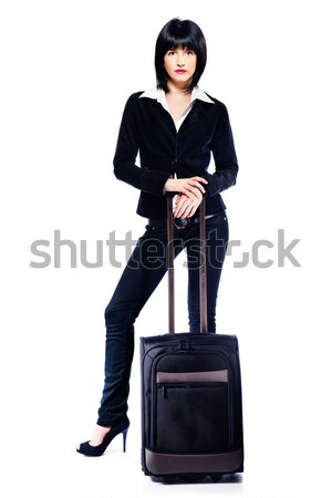 Stock fotó: üzletasszony · bőrönd · fiatal · izolált · fehér · nő