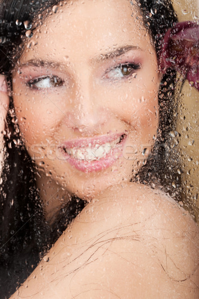 Big smile of a pretty woman behind glass Stock photo © imarin