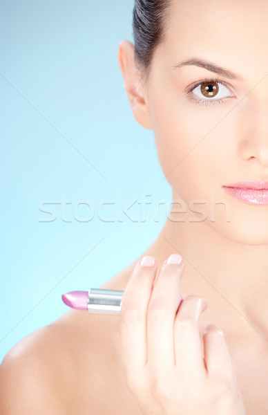 woman holding lipstick Stock photo © imarin