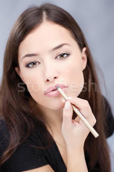 Cosmético lápis lábios foco mulher Foto stock © imarin