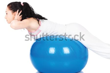 Woman behind the pilate ball Stock photo © imarin