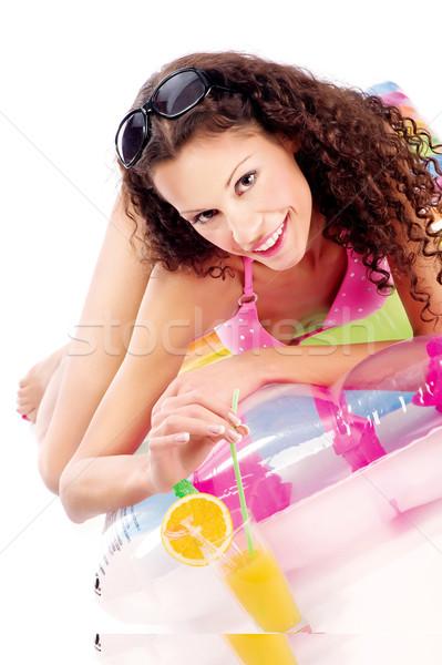 Soku powietrza materac kobieta pitnej biały Zdjęcia stock © imarin