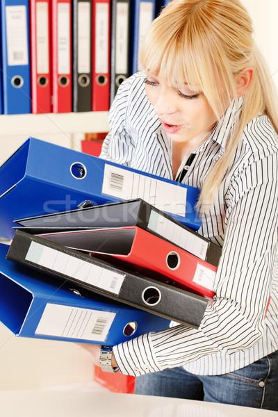 Dolgozik szőke nő üzlet iroda munkás Stock fotó © imarin