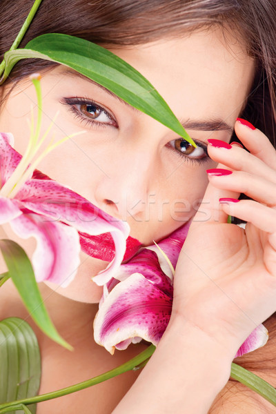 woman with oriental flowers Stock photo © imarin