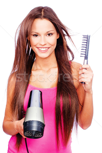 woman blow dryer and comb Stock photo © imarin
