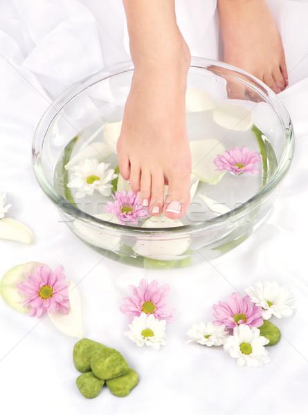 Ayaklar aromaterapi çanak su kız doğa Stok fotoğraf © imarin