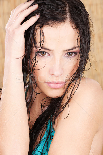wet woman in tropical environment Stock photo © imarin