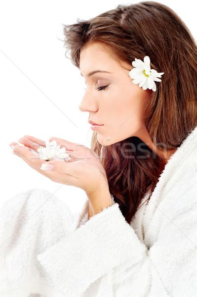 Vrouw bloem mooie vrouw badjas geïsoleerd witte Stockfoto © imarin
