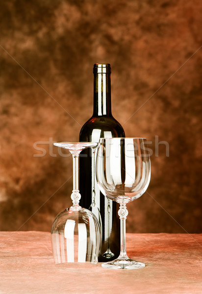 bottle of wine with two glasses Stock photo © imarin