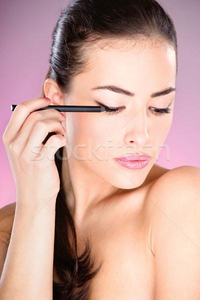 Foto stock: Mulher · cosmético · lápis · olho · mulher · bonita