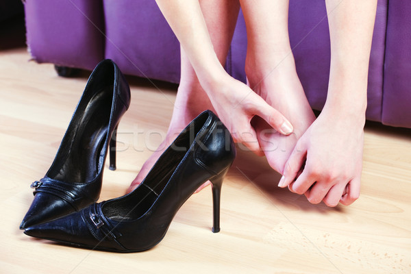 Női láb masszázs nő ad láb Stock fotó © imarin
