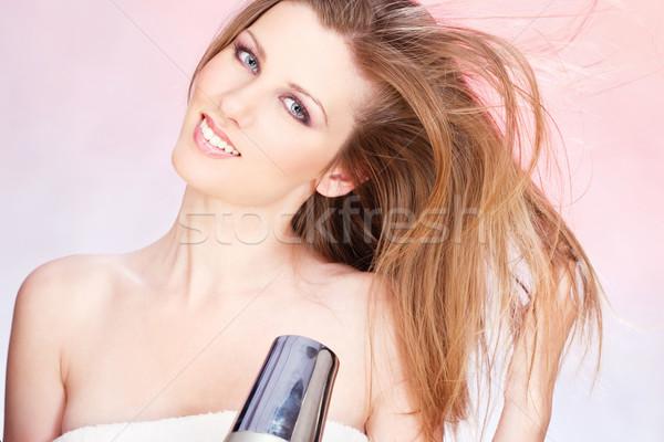 Vrouw handdoek blazen jonge vrouw meisje Stockfoto © imarin