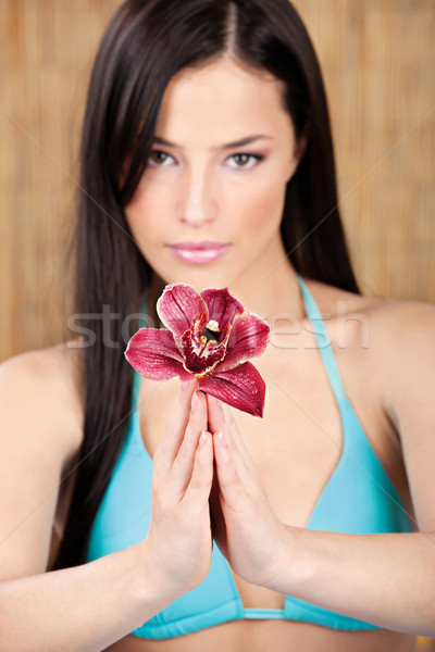pretty woman holding orchid Stock photo © imarin