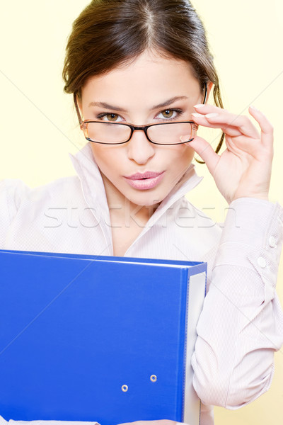 business woman with file and eyeglasses Stock photo © imarin