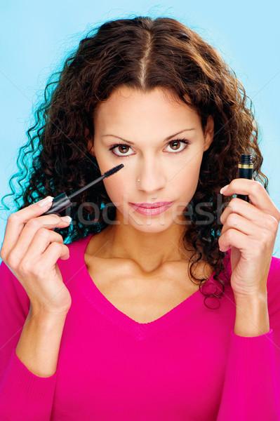 ブルネット 女性 マスカラ かなり 髪 ストックフォト © imarin
