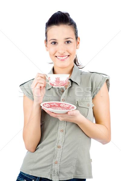 Jonge meisje theepot brunette geïsoleerd Stockfoto © imarin
