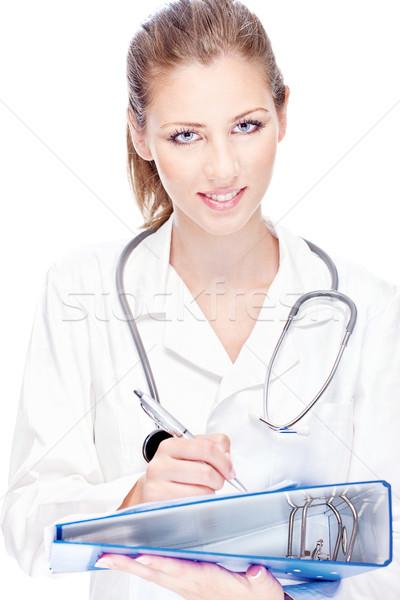 Vrouwelijke arts papieren stethoscoop portret jonge Stockfoto © imarin