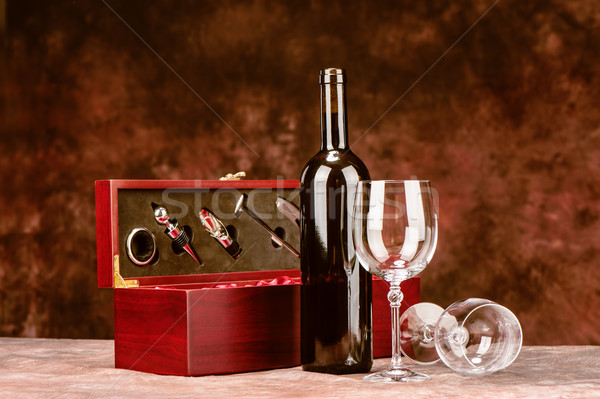Vintage wine case Stock photo © imarin