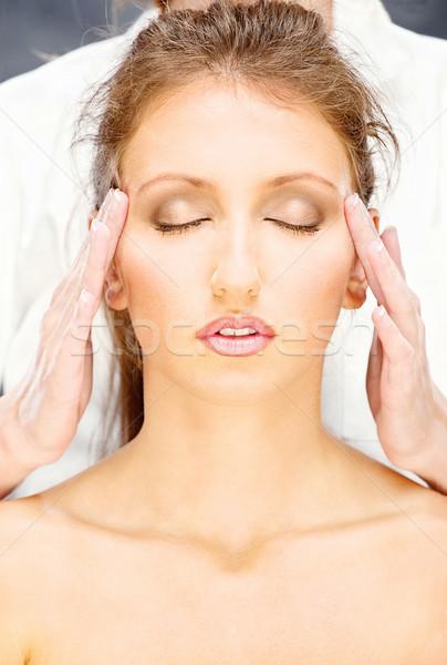 woman on head massage Stock photo © imarin